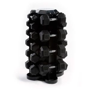 Cap Barbell 550 lb Rubber Hex Dumbbell Set, 5-50 lb with Rack