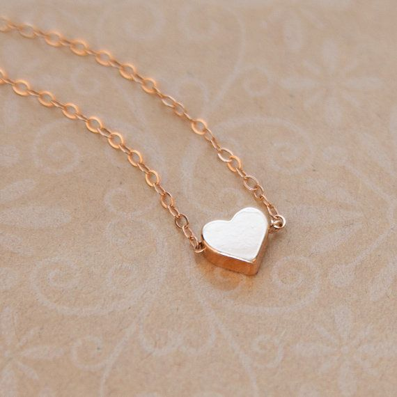 Tiny Heart Necklace in Rose Gold Gold or Sterling Silver