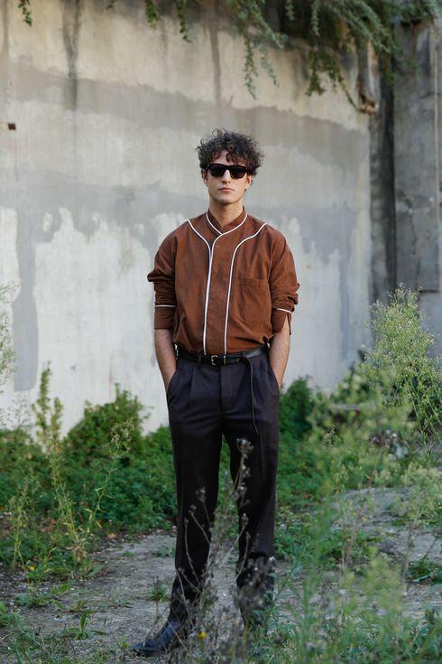 Street Style of Paris: Maison Martin Margiela Pants & UMIT BENAN Shirt | Fashionsnap.com