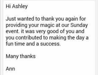 Thank you Ann, It's really nice reading through emails like this   #mindreader #mindreading #mind #reader #entertainment #entertainer #live #GreenMindReader