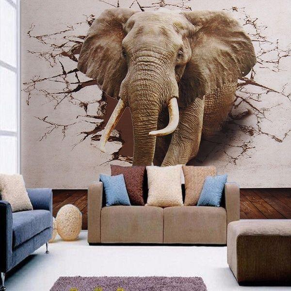 3d Wallpaper Bedroom Living Room Dining Room Mural Roll Elephant Modern Wall Background Moderne Wand Bilder Wandbilder