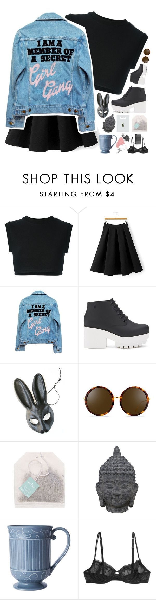 """Denim Don't // Day 6/100"" by rockgirlfriend15 ❤ liked on Polyvore featuring adidas Originals, High Heels Suicide, Melissa, Linda Farrow, Three Hands, La Perla, Arlington Milne and c0smicxcrybabiies"
