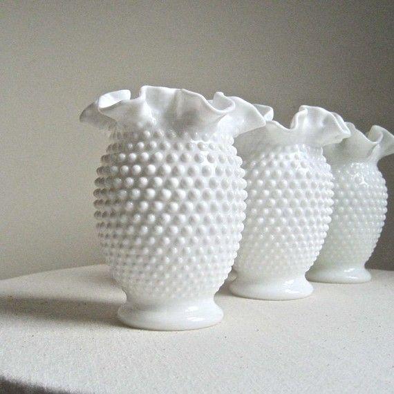 Early Fenton Hobnail Milk Glass Vase Medium Size Thrifted Wishes