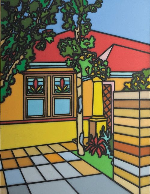 'Greek Style' - Suburbia Series of paintings. Artwork by Howard Arkley - Australian Aerosol Artists 1951-99.