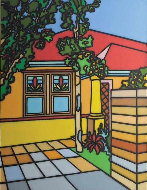 'Greek Style' - Suburbia Series of paintings. Artwork by Howard Arkley - Australian Aerosol Artists 1951-99.