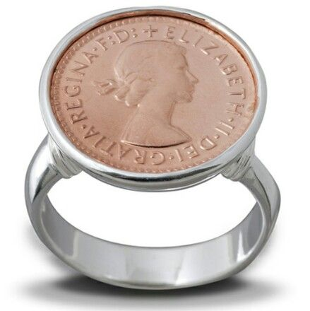 VON TRESKOW 3 PENCE SILVER AND ROSE GOLD RING $140