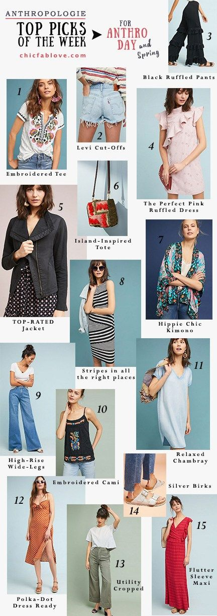 Anthropologie Top Picks of the Week for Spring :: Chic+Fab+Love | Spring Fashion | Embroidered Tee | Embroidered Cami | Black Ruffled Pants | Pink Ruffled Dress | Jacket | Kimono | Striped Dress | Levi's 501 Denim Cut-Off Shorts | High-Rise Wide-Leg Jeans | Chambray Dress | Polka-Dot Midi Dress | Utility Pants | Flutter Sleeve Maxi | Silver Birkenstocks | Textured Tote Bag | Anthropologie Instagram | #ChicFabLove #Anthrofave