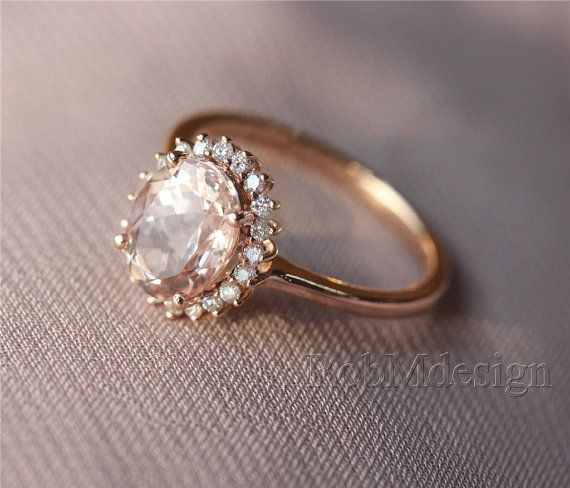 Morganite Ring Pink 6*8mm Fancy Morganite and Full Cut Natural Diamonds 14k Rose Gold Ring Wedding Ring Gemstone Engagement Ring on Etsy, $551.75 CAD