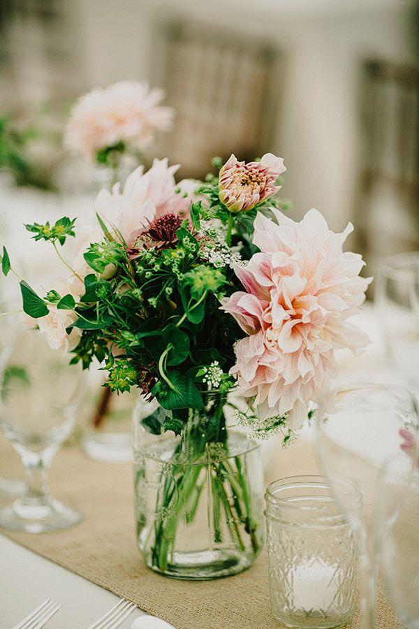 dahlia centerpiece - photo by Lev Kuperman http://ruffledblog.com/elegant-country-wedding-at-barley-sheaf-farm #dahlias #centerpieces #weddingideas