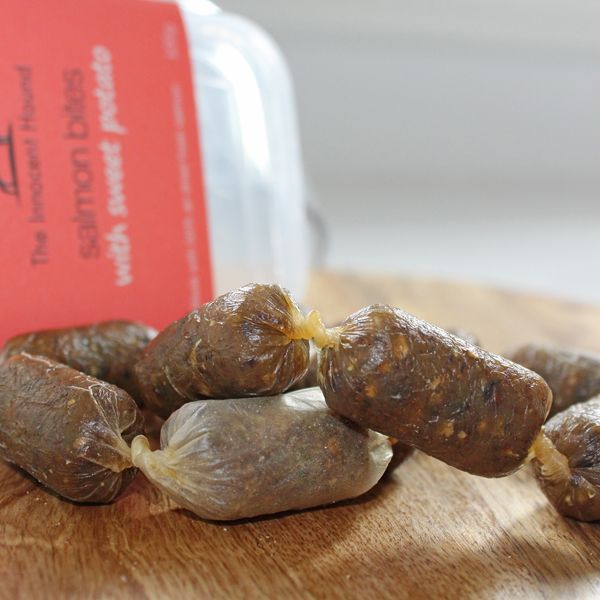 The Innocent Hound Salmon Bites with Sweet Potato. Grain-free dog treats. These low fat treats are bursting with flavour and high in Omega 3. Made in the UK.