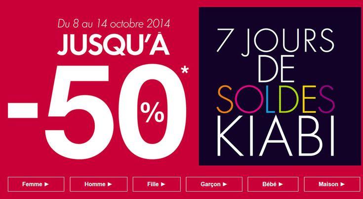 Soldes Kiabi, c'est les soldes d'Automne sur Kiabi, Du Mercredi 8 au mardi 14 Octobre, jusqu'à -50% de remise sur une sélection de produit