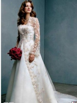 Floor length lace jacket over strapless sweetheart neckline satin dress.
