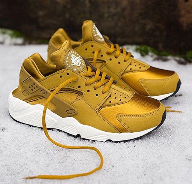 Gold Yellow Nike Huarache Trainers Sneakers Dope Footwear  e35ce8d04