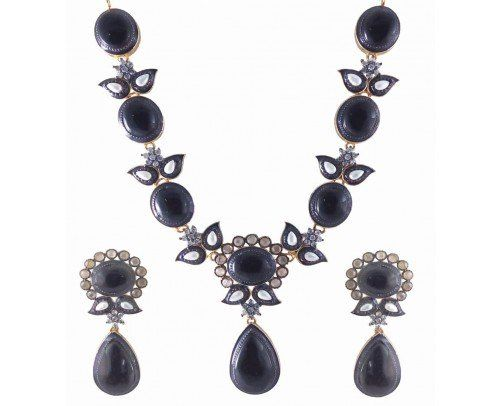 A Wardrobe Friendly American Diamond Necklace Set Hand crafted for you by Rejewel.Match the Necklace Set with Black colour CZ Stone with your favourity Dress for that perfect occasion.Dress up with these to Impress no one but You.