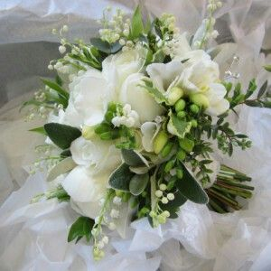 Hand Tied Wedding Bouquet: White Roses, White Freesia, White Lily Of The Valley, Green Lamb's Ear + Several Additional Varieties Of Greenery/Foliage