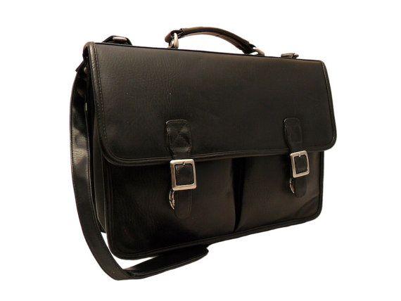 Vintage Black Leather Briefcase Man Bag Case Cross by LarkVintage, $99.00