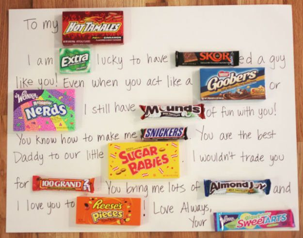 Christmas Gifts for Boyfriend! Candy Bar Card | http://diyready.com/24-diy-gifts-for-your-boyfriend-christmas-gifts-for-boyfriend/