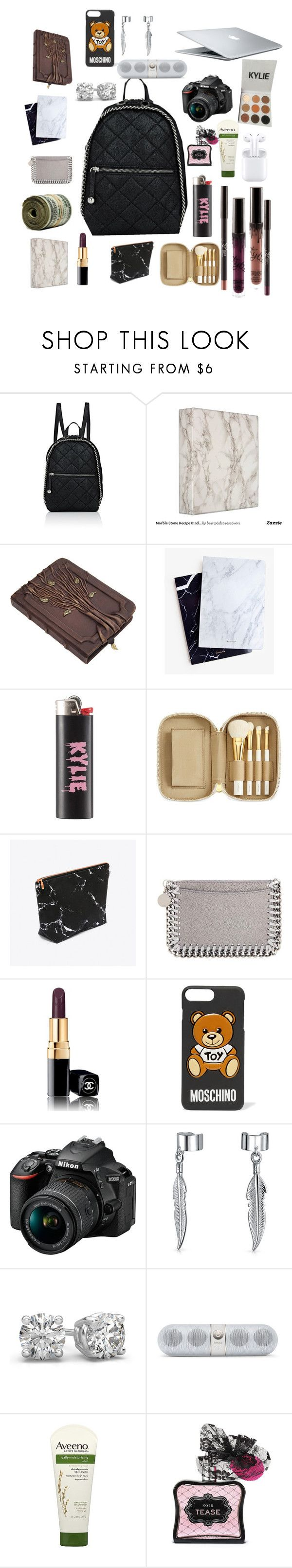 """what's in my bag"" by yeah-dhat-shay on Polyvore featuring STELLA McCARTNEY, Dear Maison, Kylie Cosmetics, Tom Ford, MAC Cosmetics, Chanel, Moschino, Nikon, Bling Jewelry and Aveeno"
