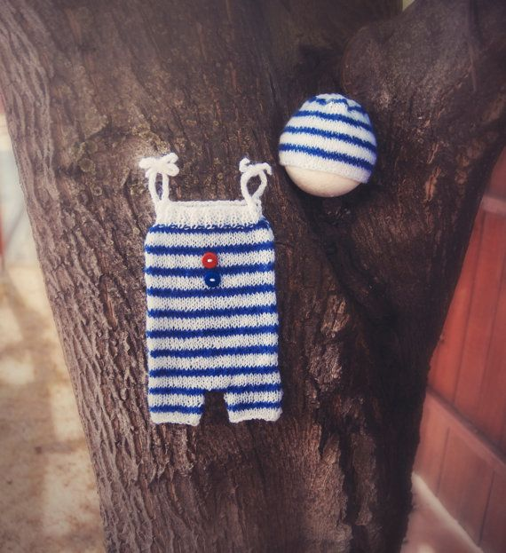 Baby Sailor Set Nautical Newborn Knit Romper by GabriCollection