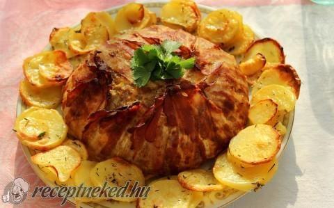Karfioltorta vele sült krumplival recept fotóval
