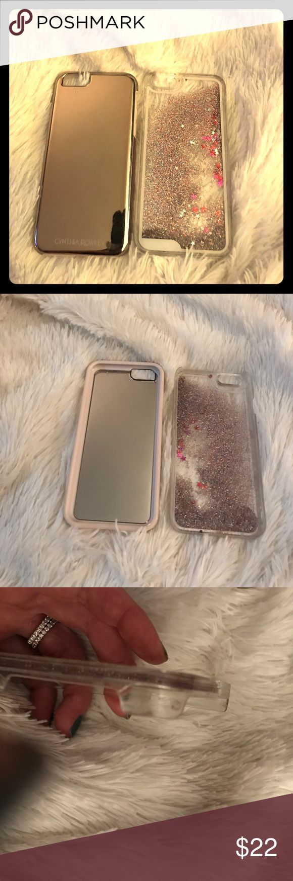 iPhone 6s covers 2 iPhone 6s 📱 🔥 awesomely rose 🌹 gold mirrored hard case with soft light pink bumper by Cynthia Rowley and iPhone store hard glitter and ⭐️ stars floating cases. Gorgeous as seen in pic one and two. Minor flaws that do not inhibit the safety or luster of either case as seen in 3and4. EUC so awesome m🔥💋❤️👱🏽♀️🌹👈🏼❣️no lowballs Accessories Phone Cases