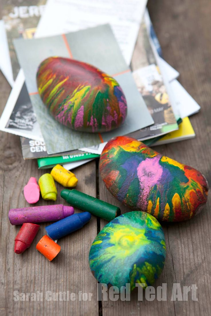 Upcycle those old crayon stubbs and make fun and beautiful paper weights.