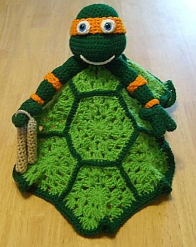 Ravelry: Ninja Turtle Mikey Lovey Blankie pattern by Knotty Hooker Designs  $2.75