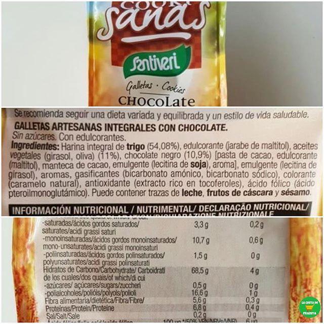 💁🏼COOKI SANAS CHOCOLATE @santiveri_official.  .  📝Supermercado: @hipercor, @carrefoures.  💵P.V.P: 1,40 euros.  .  👉🏻La columna de la derecha son los valores por galleta.  👉🏻Sí, lleva polialcoholes😁.  .  📸 @la_sospechosa.  .  #lacestadefranitacarrefour #lacestadefranitahipercor #healthyfranita #followme #follow #like4like #basicos #supermercado #galletas #chocolate