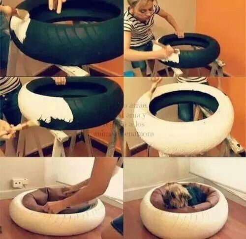 ♥Pet bed from a recycled tire.