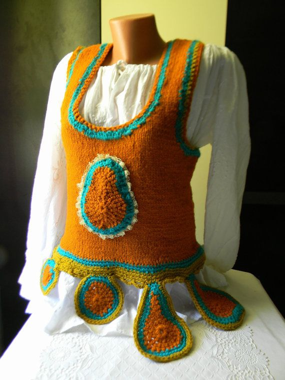 Knitted orange wool vest by JadAngel on Etsy