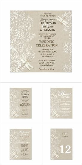 Burlap Lace and Dragonflies Wedding Invitation Set.  Mix and match the items you need.  #wedding #rusticwedding