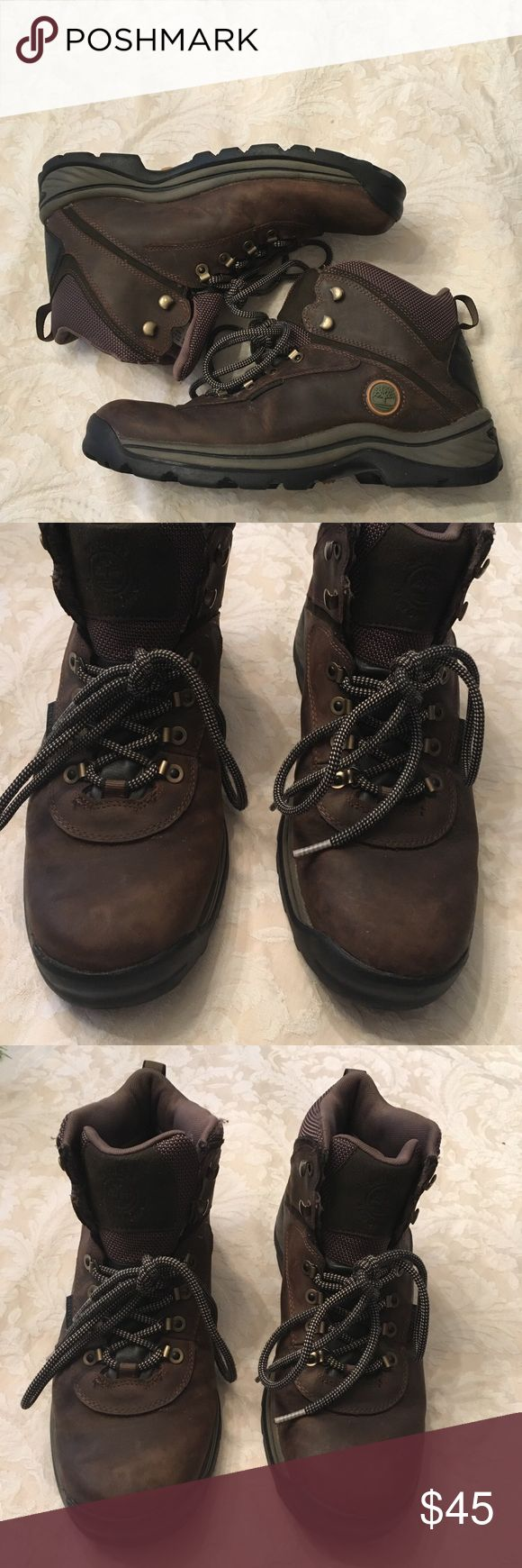Timberland White Ledge men's Waterproof Boot Great condition.   Bought for my son and he may have worn them twice.  Leather/Textile with Rubber sole.  Hiking boots with oiled-leather finish featuring lace up vamp and rear pull loop.   Does not come with box. Timberland Shoes Boots