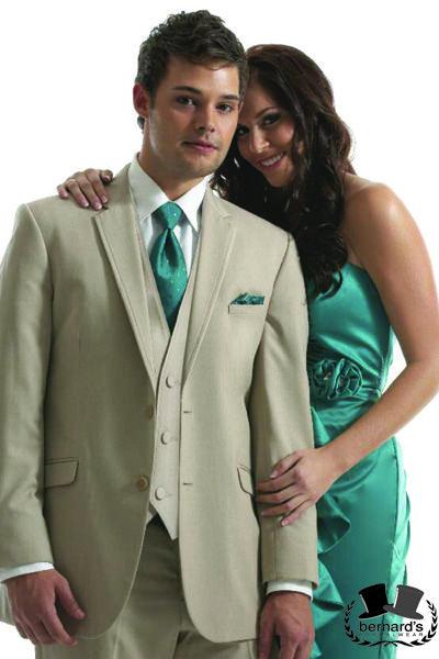 Bernard's Formalwear - Tan MODA #suit/tux 2 button notch by Jean Yves! Self trimmed edge and modern fit. #bernardstux
