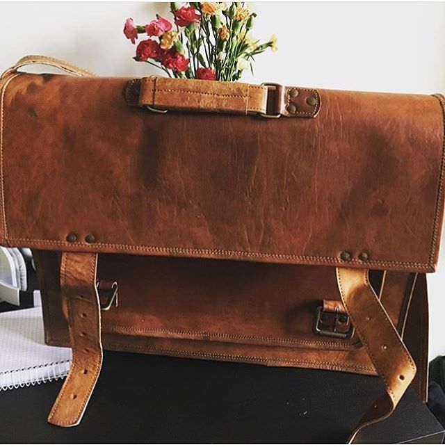 Picture shared by one of our customer of amazing leather satchel bags which is the most perfect looking leather camera bag and leather laptop bag for mens from highonleather.com
