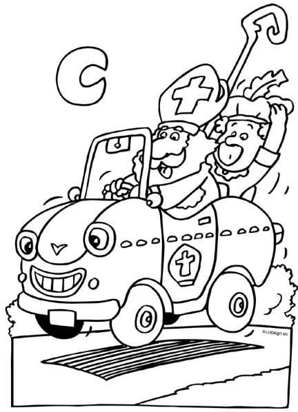 In De Auto Sint En Piet Christmas Colors Christmas En Coloring