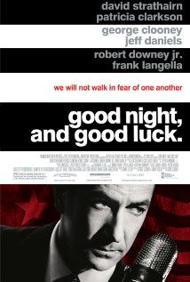 """""""Good Night, And Good Luck."""" (dir. George Clooney, 2005) --- In the early 1950's, the threat of Communism created an air of paranoia in the United States and exploiting those fears was Senator Joseph McCarthy of Wisconsin. However, CBS reporter Edward R. Murrow (David Strathairn) and his producer Fred W. Friendly (George Clooney) decided to take a stand and challenge McCarthy and expose him for the fear mongerer he was."""
