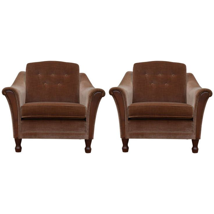 Elegant 1stdibs.com | Vintage Tailored Mohair Velvet Chairs With Flared Arms And  Button Tufting