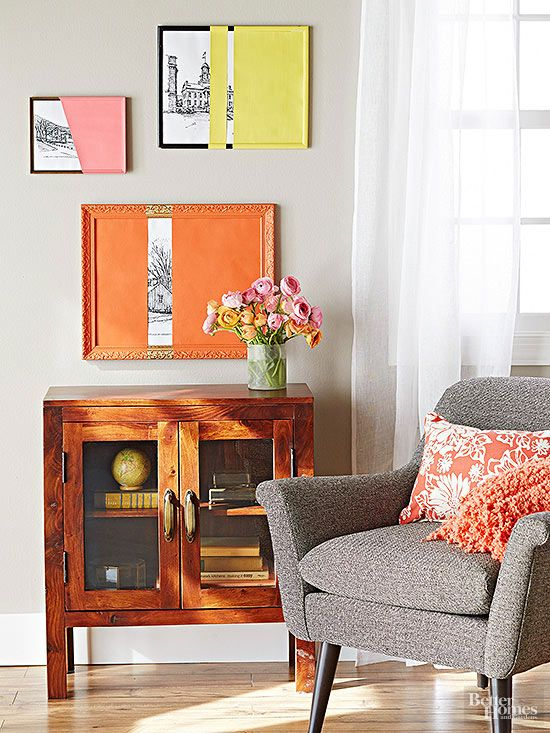 Framed prints get an easy (and colorful) update thanks to acrylic paint and imagination.