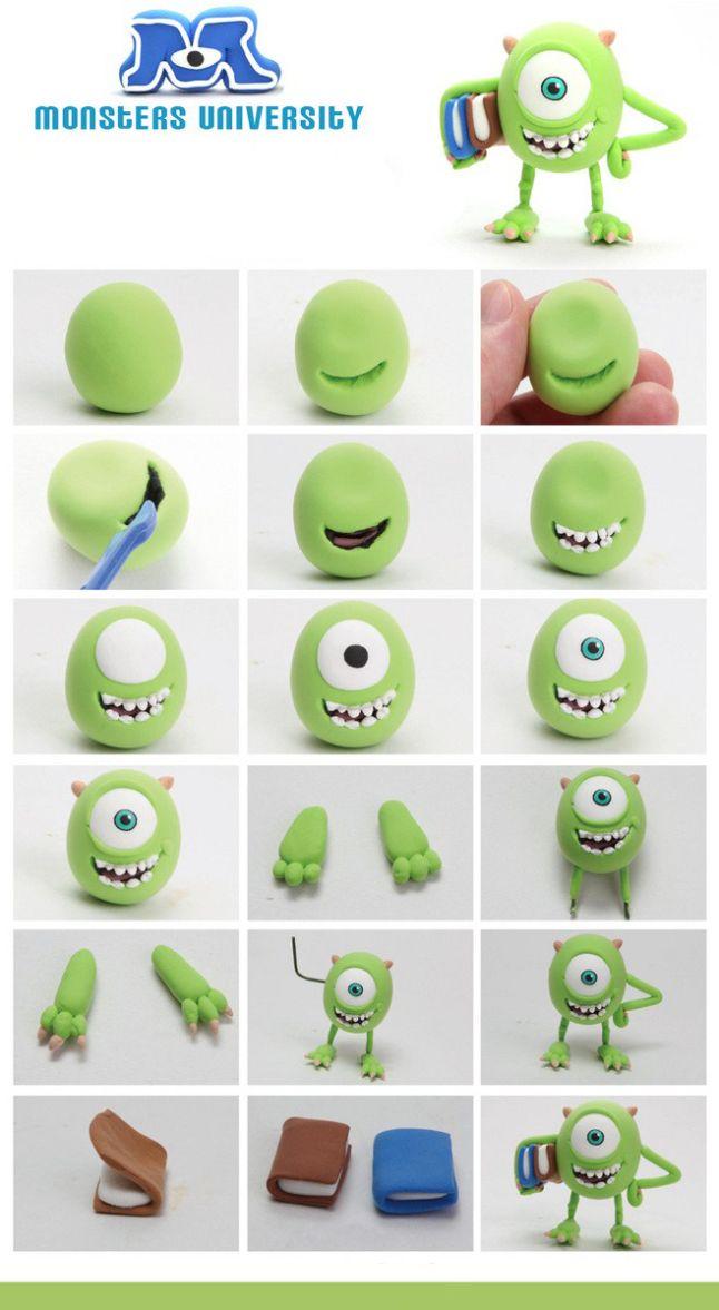 Personajes Monster University con #fimo o #sculpey, muy divertido y súper fácil
