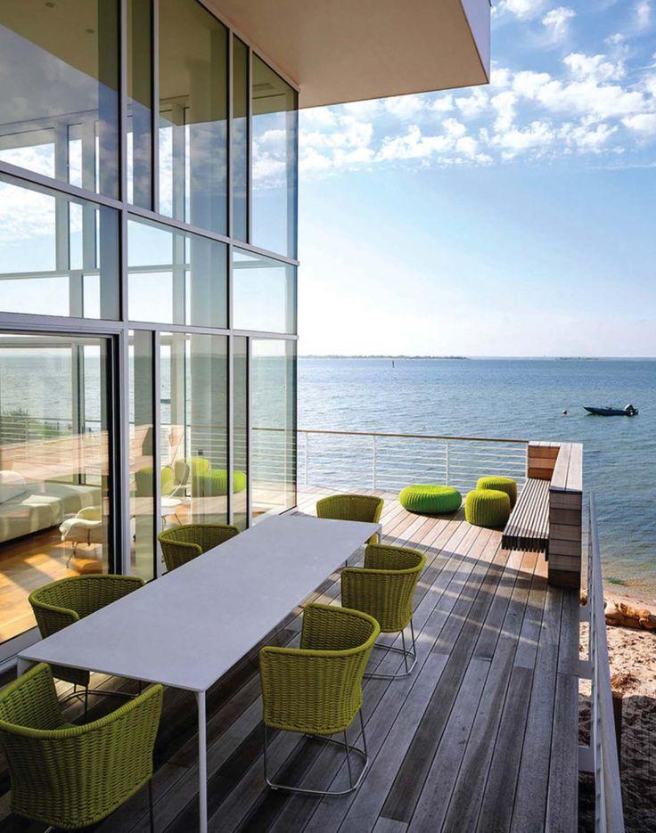 Modernized steel and glass beach house maximizes views on Fire Island
