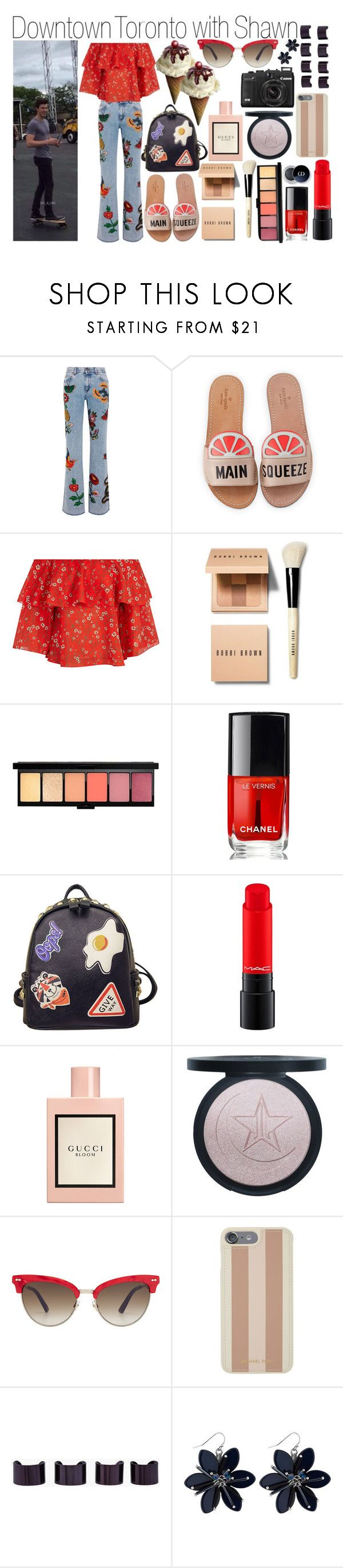 """Dowtown Toronto with Shawn"" by yanatommo ❤ liked on Polyvore featuring Gucci, Kate Spade, Alice + Olivia, Bobbi Brown Cosmetics, Chanel, WithChic, Michael Kors and Maison Margiela"