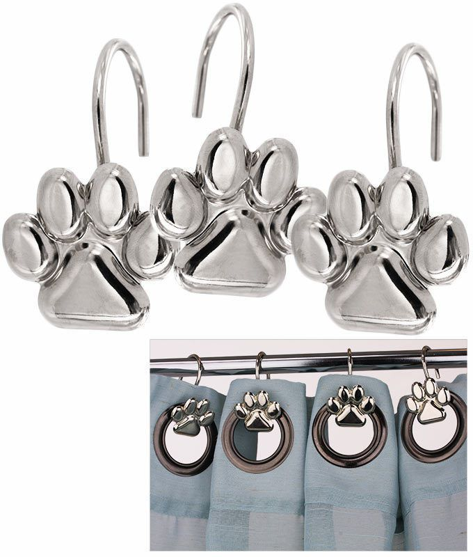 NEW DOG PAW PRINT METAL SHOWER CURTAIN HOOKS SET OF 12 HAND CRAFTED UNIQUE GIFT