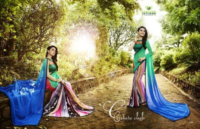 Multi Printed Georgette Saree(Rf20045) Sarees on Shimply.com