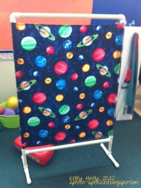 I have these in my classroom.  Light, cheap, room dividers: Therapy Ball, Privacy Screens, Classroom Decor, Special Education, Dynamic Duo, Rooms Dividers, Pvc Pipes, Classroom Dividers, Ball Racks