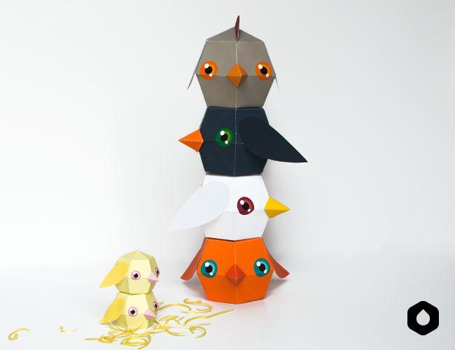 Les Poulettes Totémiques paper toys / paper crafts - #DIY + free #printable