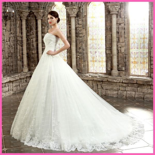 Great ED YH Ball Gown Strapless Sweetheart Lace Appliqued Puffy Wedding Dresses China