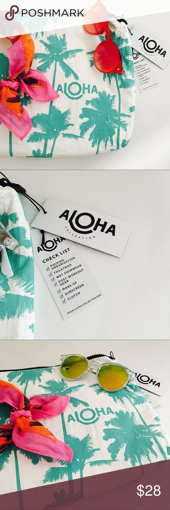 "ALOHA Collection Mid-Size Pouch Splash Proof Tyvek Take a little Kauai with you on your next adventure! This print was inspired by Kauai's coco palms and the famous Coco Palms Resort.   This pouch is perfect to use as a beach clutch.  Stow your sunscreen, sarong, and bikini, or pack toiletries for your next trip!  Mid-size pouch measures:  11.5"" across x 2"" wide x 8.5"" tall ALOHA Collection Bags"