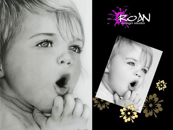 CUSTOM PORTRAIT. Pencil portrait  from photo A4 8 x by RoanStudio, zł100.00