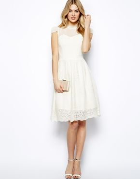Lydia Bright Skater Dress With Mesh Top
