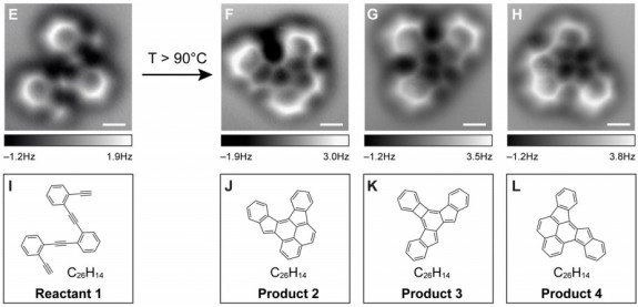 OMG! First time ever photos of chemicals. 1) They look exactly like drawings in textbooks, and 2) You can actually see the bonds between the atoms. This is phenomenal!